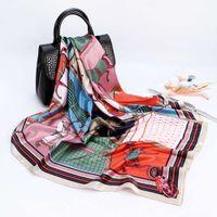Foulard en soie pour femmes de luxe de luxe châles 90 * 90cm carré foulard foulard femme femme foulard imprimé musulman hijab scarv