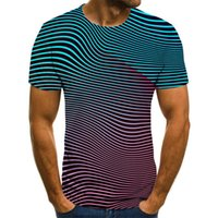 Men's T-Shirts 3D Striped Summer Singlets Everyday Casual Short-Sleeved Fashion Round Neck Shirt Trendy Streetwear