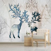 Wallpapers Large 3D Wallpaper Mural Custom Nordic Hand-painted Elk Forest Bedroom Background