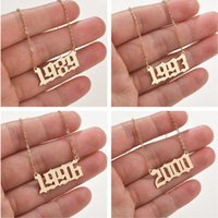 Kinitial Fashion Birth Number Charm Necklaces Wedding Year Anniversary Necklace Gothic Date Pendant Jewelry Chains