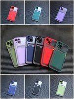 2 IN 1 Card Pocket Holder Shockproof Mobile Phone Cases Matte Candy Color Frosted Plastic TPU With Slot Silicone PC Case For iPhone 7 8 Plus X XS XR 11 12 Pro Max