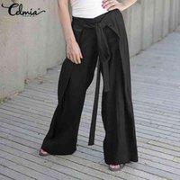 Celmia Pantalon élégant Femmes Pantalon de la jambe à la mode Long Long Palazzo Long Palazzo High Taille Casual Ceinture Ceinturé Pantalon Plus Taille