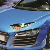 مضحك سيارة ملصقا 3d عيون تطل على الوحش ملصقا بصاصة شحن الأغطية جذع الإثارة الخلفية نافذة صائق مجانا