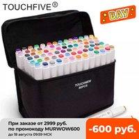 Touchfive 12/24/36/48/60/80/168 Colores Marcadores de arte Pluma Marcador a base de alcohol Tips Dual Heed Tips para manga dibujo marcador pluma