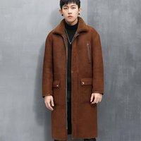 Men's Leather & Faux Winter Natural Fur Coat Genuine Sheepskin Jackets Wearable On Both Sides Long Slim Parkas Manteau Homme SQQ868
