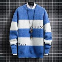 Men's Sweaters #5866 Black Blue Khaki Mink Velvet Sweater Male Slim Striped Spliced Color Pullovers Mens Warm Knitwear