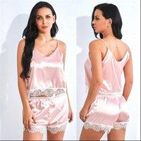 Sexy Lingerie Nightwear Set Comfortable Womens Sleepwears Cute V Neck Lace Stain Underwear Sleepwear Silk Pajamas Sets 661SW10