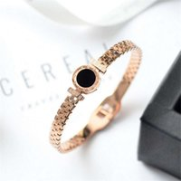 Bangle Temperament high quality luxury strap Roman numeral black titanium Rose Gold Stainless steel Bracelet
