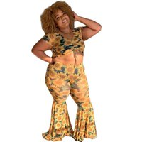 Women's Tracksuits Summer Plus Size Womens Suits Sweet Short Crop Top And Loose Flare Trouser Sexy Two Piece Set Polyester Wholesale Drop