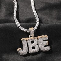 Men Women Gold Plated Bling CZ Diamond DIY Custom Name Letter Name Pendant Necklace With 24inch Rope Chain