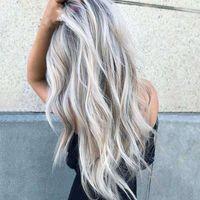 Leaching e tintura a metà lunghezza capelli ricci cost grigio gradiente anime parrucca femmina fibra chimica copricapo fibra