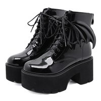 Boots 2021 Fashion Angel Wing Ankle High Heels Soft Leather Women Platform Punk Gothic Sexy Female Lace Up Shoes