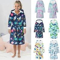 Jackets Toddler Sleepwear Baby Boys Girls 2021 Fashion Autumn Winter Cartoon Bathrobes Flannel Night-Robe Hoodie Open Stitch Clothes 202