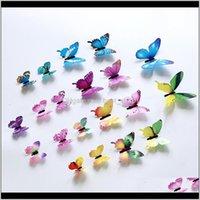 Décor Garden Drop Delivery 2021 3D Butterfly Wall Stickers 12Pcsset Home Decor Muti Colors Butterflies Walls Decors Colorful Poster Window De