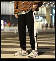 Mens Autumn Casual Contrast Buttons Pants For Men Fashion Loose Ankle-Length Sports Trousers High Quality