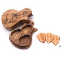 هدية التفاف الغيتار يختار خشبية اختيار مربع حامل جامع مع 3 قطع الوسيط الخشب الملحقات أجزاء أداة الهدايا الموسيقى HWD7548
