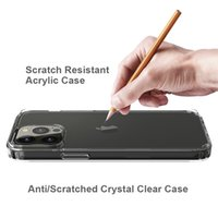 Shockproof Clear Acrylic Hard Phone Case for iPhone 13 12 Mini 11 Pro Max Anti-scratched Transparent Bumper Cover