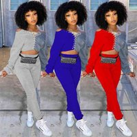 Women's Long sleeve two piece outfits sport casual pants set lace up hoodie pullover blouse tops and sweatpants sportswear autumn tracksuit joggers suit G974LQI