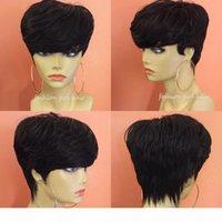 Brasilianischer Pixie Cut Perücke Menschenhaarperücke mit Bang billig Kurzes menschliches Haarperücken für schwarze Frauen Bob kurze gerade Spitze Front Perücke