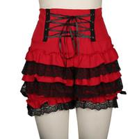 Плюс размер 3XL красный черный женский короткий готический стимпанк лолита рюана кружева тыква румянцы женщина хлопок высокая талия косплей