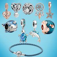 Memnon Jewellery Summer Ocean Series Beads Dangle Charms Sea Turtle 925 Sterling Silver Fit Pandora style Bead Charm Bracelets DIY Jewelry Gift