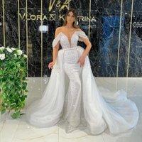 Luxury Mermaid Wedding Dress Sparkly Sequins Beads Off-Shoulder Bridal Gowns With Detachable Train Marriage Dresses Robe De Mariée