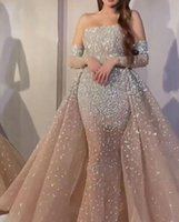 2021 New Pink Evening Dresses Jewel Neck Beaded Sequined Lace Long Sleeve Mermaid Prom Dress Sweep Train Custom Illusion Robes De Soirée
