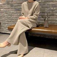 Womens Zwei Stück Hosen plus Größe Set Frauen Kleidung 2021 Herbst Kleidung Hohe Mode Anzug Fat Schwester Pullover Wide Bein