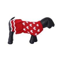 الكلب الملابس الصحيفة الحب القلب نمط الأحمر تيدي سترة فستان للأعياد عيد الميلاد ملابس الحيوانات الأليفة