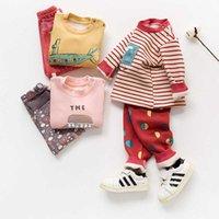 Baby Outono Roupas e Calças Definir Homens e Crianças Underwear térmico Split Roupas de bebê das mulheres outono e inverno pelúcia espessada