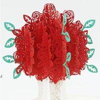 장미 팝업 조각 카드 3D 크리 에이 티브 인사말 카드 로맨틱 붉은 꽃 수제 카드 발렌타인 데이 기프트 카드 사용자 정의 DWA7175