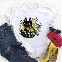 Women Womens T Shirt Cat Pet Floral Cartoon Kawaii Flower Print Ladies Summer Tee Female Top Clothes Graphic