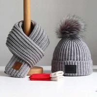 Chapéu do bebê outono inverno crianças chapéu lenço meninos e meninas moda cabeça cabeça cachecol bebê lã chapéu tendência luva de 3 peões ternos