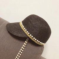 Primavera / Estate 2021 Giappone Decorazione della catena perla Wheatgrass Berretto da baseball, Cappuccio di moda Contratto Anatra Equestrian Tongue Paglia cappello