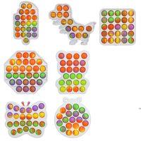 Rainbow Sensory Fidget Bubble Toys Push Finger Fun Game Squeeze Balls toy Puzzle Stress Relief Camo Heart Circle Square Shape FWB7067