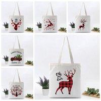 Santa Print Sacks Christmas Canvas Burlap Bag Gift Shoulder Bags Kids Drawstring Large Size Xmas Party Decorati