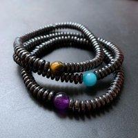 Ninguna pulsera de hematita magnética Tiger Eye Purple Blue Beads Stone Hombres Joyería de muñeca 1pc Beaded, Halls