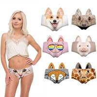 New 3D Sexy Lady Panties Animal Print Cute Womens Underwear Briefs with Pig Cat Dog Fox Pig Ears