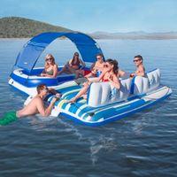 389 * 274 см Надувные поплавки водных видов спорта Плавучая партия Остров Лондовая лодка Lounge Giant Бассейн Кровать для 4-6 человек