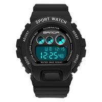 Lässige Uhren Junge Sanda Mode Outdoor Elektronische Sportuhr für Mann und Paare Multi Farben Hohe Härte Glas Harz Gurt 5ATM Stoppuhr Kalender Leuchtend