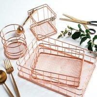 Rose Gold Eisen Kunst Nordic Makeup Organizer Korb Eyeliner Pinsel Set Lagerung Tasse Dressing Tabelle Kosmetik Box Boxen Bins