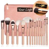 New 15 Pcs Makeup Brushes Set CosmeticsMakeup Brush With PU Leather Bag Natural Soft Hair Eye Shadow Lip Make Up Brush Tool Kit