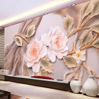 Wallpapers Custom Po Wallpaper 3D Flower Tree Relief Background Wall Interior Decoration Painting Mural Living Room TV Papel De Parede