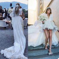 Hi Lo A Line Wedding Dress Tiered Ruffles V Neck Long Sleeve Tutu Bride Dresses Modern Zipper Back Bridal Gowns robes de mariée
