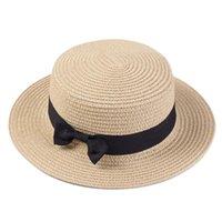قبعات الصيف للنساء قبعة الشمس شاطئ السيدات أزياء شقة بروم bowknot بنما سيدة عارضة الشمس القبعات للنساء قبعة سترو