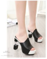 2021 Summer Fish Mouth Sandals Female Thick-soled Thin-heeled Korean Transparent Thick-heeled Slippers
