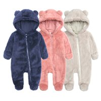 Autumn winter Children's Clothing Baby Jumpsuit Arctic Velvet Romper Baby Hooded Thick Warm Thick Plush With Foot Crawler