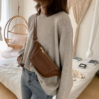 Solid color Woman Waist Bag Fanny pack PU leather Lady Waist pack Chest Bags Multifunction Mobile coin purse Fashion Banana Bag
