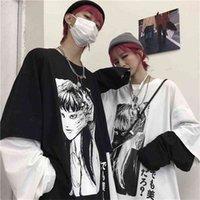 T-shirt T-shirt Nicemix Harajuku Faux 2 pièces Imprimer Japonais Fujiang Horror Bandes dessinées à manches longues Chemise à manches longues Femmes Vélement Femme 210330