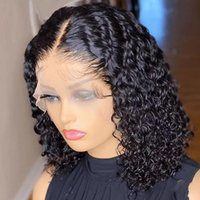 Lace Wigs Short Bob Wig Brazilian Curly Front Human Hair T Part Transparent Preplucked Hairline For Women
